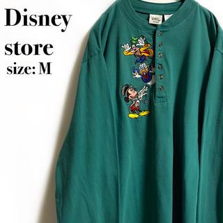 ディズニー(Disney)のディズニーストア ミッキー ドナルド グーフィー グリーン ボタン ロンT(Tシャツ/カットソー(七分/長袖))