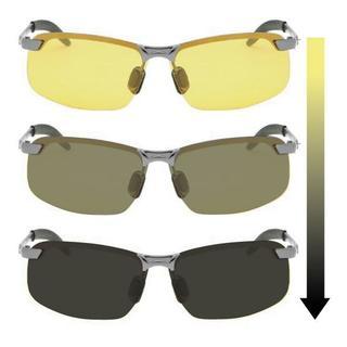 002 ドライビングサングラス 夜用 紫外線で変色する 調光 偏光 黄色いレンズ(サングラス/メガネ)