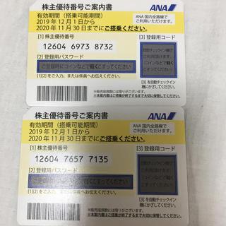 エーエヌエー(ゼンニッポンクウユ)(ANA(全日本空輸))のANA 株主優待 2枚 2020年11月 全日空 金券ショップでは1枚3000円(航空券)