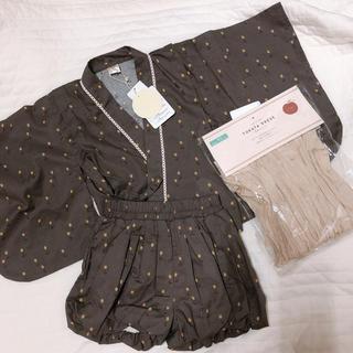 フタフタ(futafuta)のテータテート 浴衣 ドレス チューリップ チャコルグレー 95(甚平/浴衣)