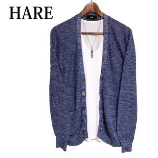 ハレ(HARE)のHARE リネンカーディガン 青 カーデガン 羽織りもの オフィス着(カーディガン)
