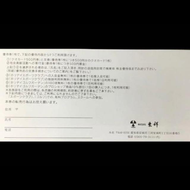 holiday(ホリデイ)の最新 東祥 株主優待券4枚セット ホリデイスポーツクラブ 施設利用券  チケットの施設利用券(フィットネスクラブ)の商品写真