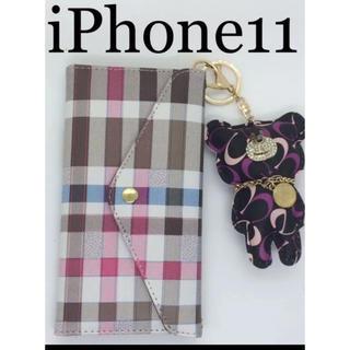 新品✨iPhone11 チェック 手帳型ケース✨クマさんチャーム付き(iPhoneケース)