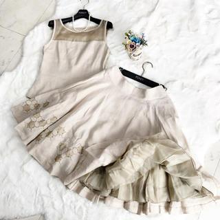 フォクシー(FOXEY)の美品 フォクシー ハンプトン リネン セットアップ スカート スーツ(スーツ)