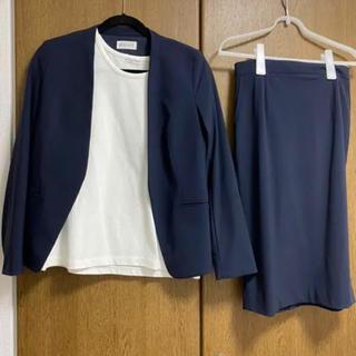 PLST - ナイロントリコット ノーカラージャケット、スカート セットアップ