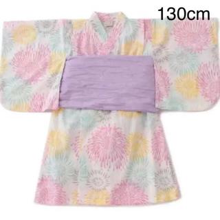 プティマイン(petit main)の新品 プティマイン 花火柄 浴衣 130cm(甚平/浴衣)