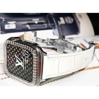 新作 アップルウォッチダイヤケースベルトセット ❇︎本革❇︎クリア×シルバー❇︎(腕時計(デジタル))