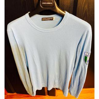 ドルチェアンドガッバーナ(DOLCE&GABBANA)の名作ドルチェ&ガッバーナD&GロンTシャツ46ブルー刺繍SワッペンITALIA(Tシャツ/カットソー(七分/長袖))