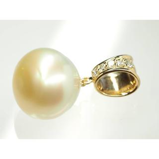 質屋出品iu 天然南洋真珠ペンダントトップ ダイヤモンド K18YG 約16mm(ネックレス)