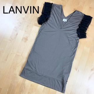 ランバンオンブルー(LANVIN en Bleu)の【LANVIN】ランバン フリル付きチュニック  38サイズ オリーブグリーン(チュニック)