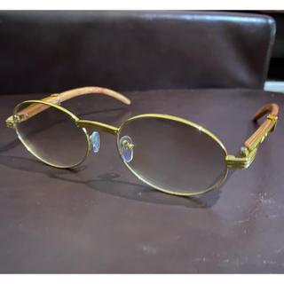 カルティエ(Cartier)のゴールドラウンド ウッドテンプル サングラス(サングラス/メガネ)