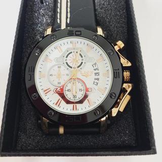腕時計 ホワイト ゴールド ブラック 多機能(腕時計(デジタル))