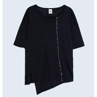 リックオウエンス(Rick Owens)の新品ZARAman異素材切替変形アシメカットソー2枚セットS(Tシャツ/カットソー(七分/長袖))