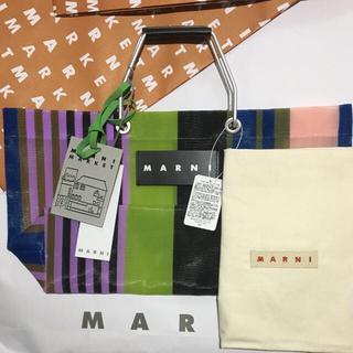 マルニ(Marni)のMARNI MARKET ストライプバッグ ミニ マルチグリーン(かごバッグ/ストローバッグ)