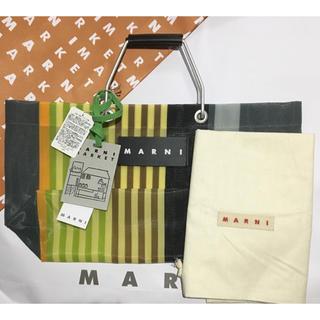 マルニ(Marni)のMARNI MARKET ストライプバッグ ミニ  マルチグレー(トートバッグ)