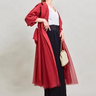 ラベルエチュード(la belle Etude)の新品 ラベルエチュード 定番チュールトレンチコート レッド 赤 ベルト付き(トレンチコート)