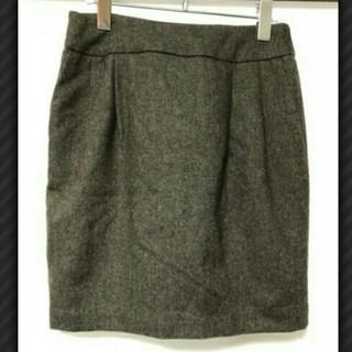 ムジルシリョウヒン(MUJI (無印良品))のMUJI 無印良品 洗えるウール混ツィード スカート レディース ブラウン (ひざ丈スカート)