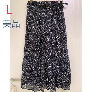 ❗️再値下げ❗️黒花柄 ティアードスカート ロング ベルト付き(ロングスカート)