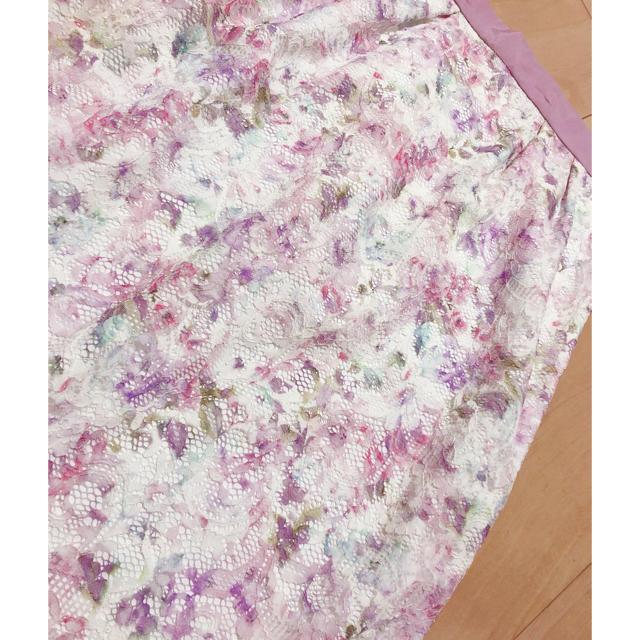 Debut de Fiore(デビュードフィオレ)の完売 19SS ボカシフラワーレーススカート レディースのスカート(ひざ丈スカート)の商品写真