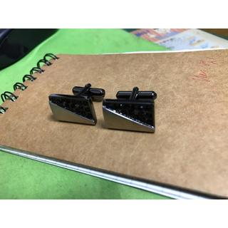 未使用品 ブラックジルコニア ×  シルバー  カフリンクス カフスボタン