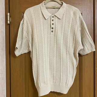 vintage off-white summer knit polo shirt(ポロシャツ)