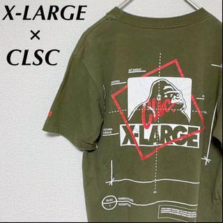 エクストララージ(XLARGE)のX-LARGE × CSLC コラボ Tシャツ カーキ ビッグロゴ メンズ 古着(Tシャツ/カットソー(半袖/袖なし))