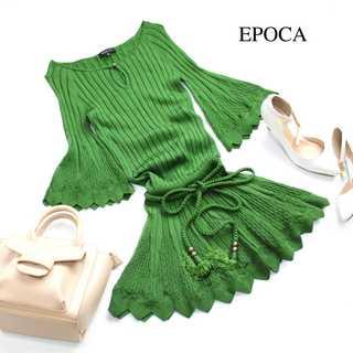 エポカ(EPOCA)のエポカ★リゾート風♪リブニットワンピース IT40(M) 緑 フリンジベルト(ミニワンピース)