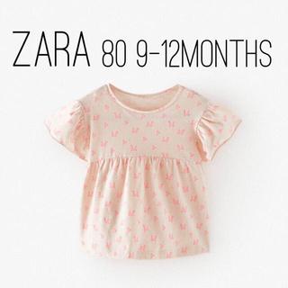 ザラキッズ(ZARA KIDS)のZARA ザラ ベビー キッズ フラワー柄オーバーサイズ ブラウスTシャツ 80(Tシャツ)