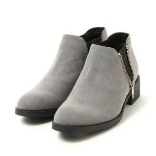 ジーナシス(JEANASIS)のJEANASiS サイドゴア ZIP ブーツ グレー M(ブーツ)