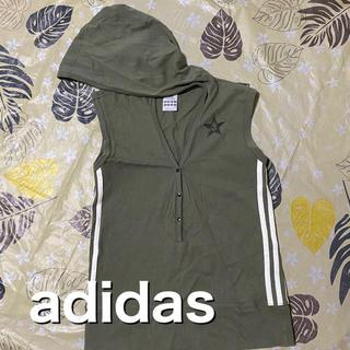 アディダス(adidas)のadidas フード付きノースリーブトップス カーキ(カットソー(半袖/袖なし))