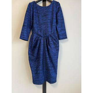 【 UK10】closet londonネイビーラメVバックドレス(ひざ丈ワンピース)