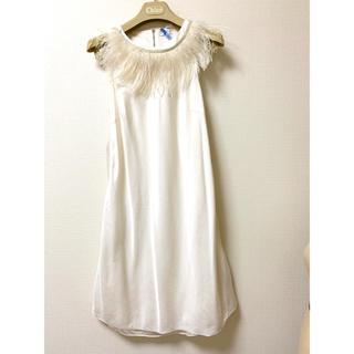 ブルネロクチネリ(BRUNELLO CUCINELLI)のBRUNELLO CUCINELLI シルク二重仕立て襟付きワンピースドレス(ひざ丈ワンピース)