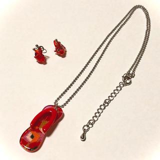 【アクセサリー】ネックレス&イヤリング   セット 赤(ネックレス)