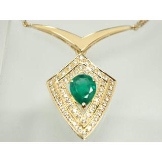 質屋出品zv 極上天然エメラルドダイヤモンドネックレス K18YG(ネックレス)
