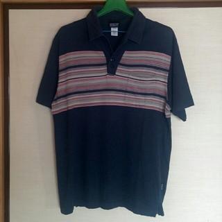 パタゴニア(patagonia)のpatagonia パタゴニア 半袖ポロシャツ 紺色/ボーダー メンズ Mサイズ(ポロシャツ)