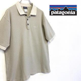 パタゴニア(patagonia)の美品 patagonia 刺繍ロゴポロシャツ ボーダー柄 アースカラー系 (ポロシャツ)
