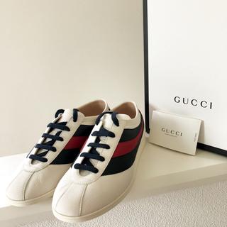 グッチ(Gucci)のGUCCI ウェブレザーロートップ スニーカー 5.5 24.5cm グッチ(スニーカー)