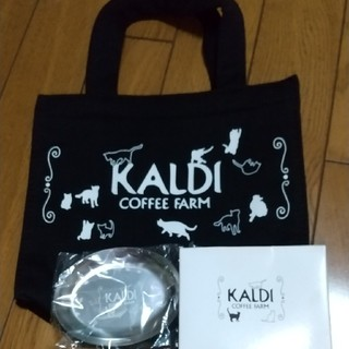 カルディ(KALDI)のカルディネコの日ミニバックとティートレイ&キャットミーティ2袋(食器)