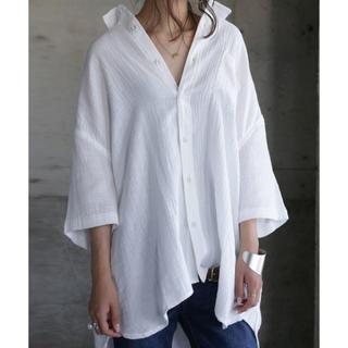 アンティカ(antiqua)のアンティカ◎antiqua 綿ガーゼシャツ ホワイト(シャツ/ブラウス(半袖/袖なし))