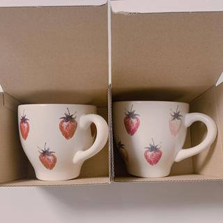 ジェラートピケ(gelato pique)の【マグカップ】ジェラートピケ  ストロベリーマグカップ2個 ピンク&ホワイト(グラス/カップ)