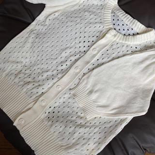 キャサリンコテージ(Catherine Cottage)の七分袖 アイボリー 透かし編みカーディガン 160 F(カーディガン)