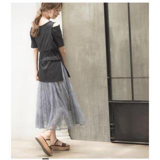 ミスティウーマン(mysty woman)のミスティウーマン 花柄刺繍スカート(ひざ丈スカート)
