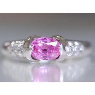 Pt900 ピンクサファイア 1.282ct ダイヤモンド 0.12ct リング(リング(指輪))