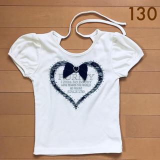 イングファースト(INGNI First)のイングファースト★リボン付きカットソー 半袖 M(120〜130)(Tシャツ/カットソー)