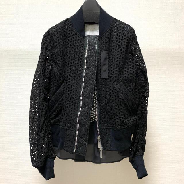 sacai(サカイ)の⭐︎再値下げ⭐︎ sacai サカイ レース ブルゾン ブラック 1 ジャケット レディースのジャケット/アウター(ブルゾン)の商品写真