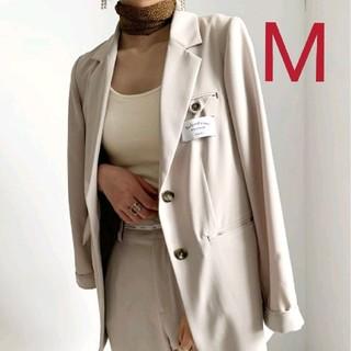 アメリヴィンテージ(Ameri VINTAGE)の新品タグ付 BACK SIDE JACKET ベージュ M アメリ(テーラードジャケット)
