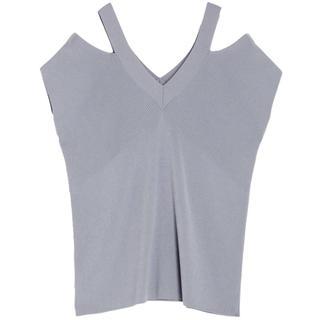 ラグナムーン(LagunaMoon)のラグナムーン*ダブルVネックサマーニット*(Tシャツ(半袖/袖なし))