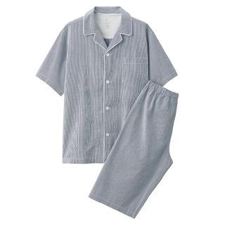 ムジルシリョウヒン(MUJI (無印良品))の無印良品脇に縫い目のない サッカー織り半袖パジャマ 紳士L・ネイビー×チェック(その他)