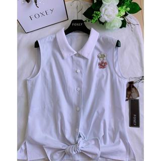 フォクシー(FOXEY)のFOXEY  フロントおリボンブラウス40 超美品 rene(シャツ/ブラウス(半袖/袖なし))