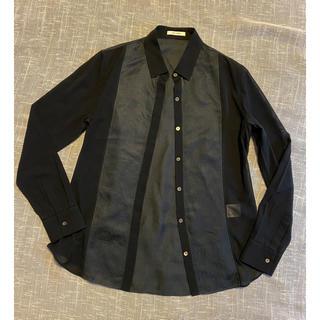 デプレ(DES PRES)のDES PRES  コットンシルクのシャツ 黒&濃いグレー 1(シャツ/ブラウス(長袖/七分))